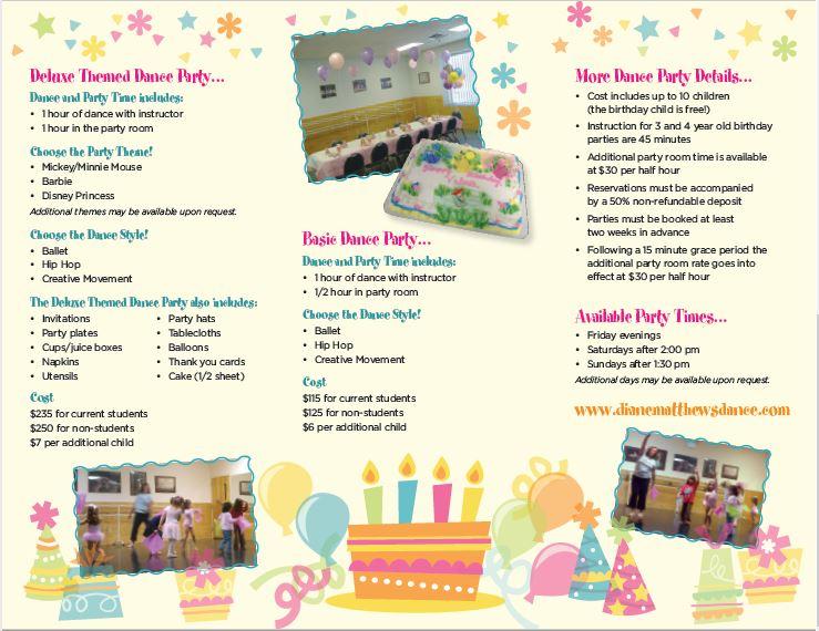 Dance Party brochure- inside